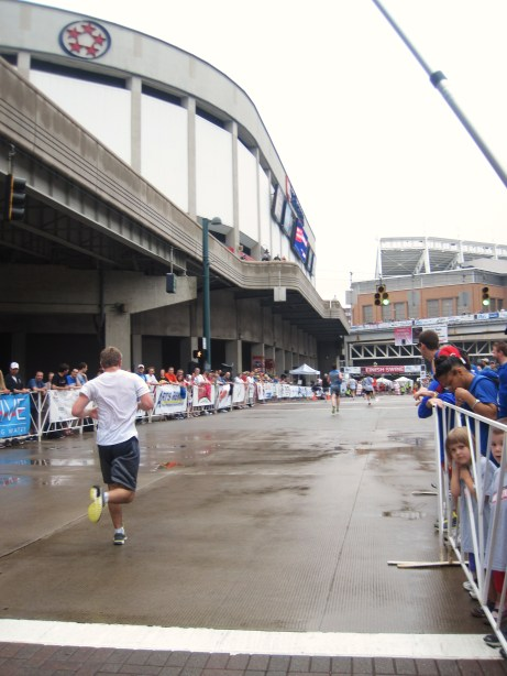 Nick finishing his race