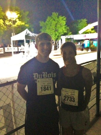Look how happy we are to be standing near the starting line in the freezing mist at 5am! Woo!
